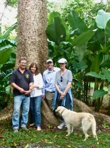Alan & Susan Carle (left), Michael & Judith Pollan, & Gaia our dog at The Botanical Ark