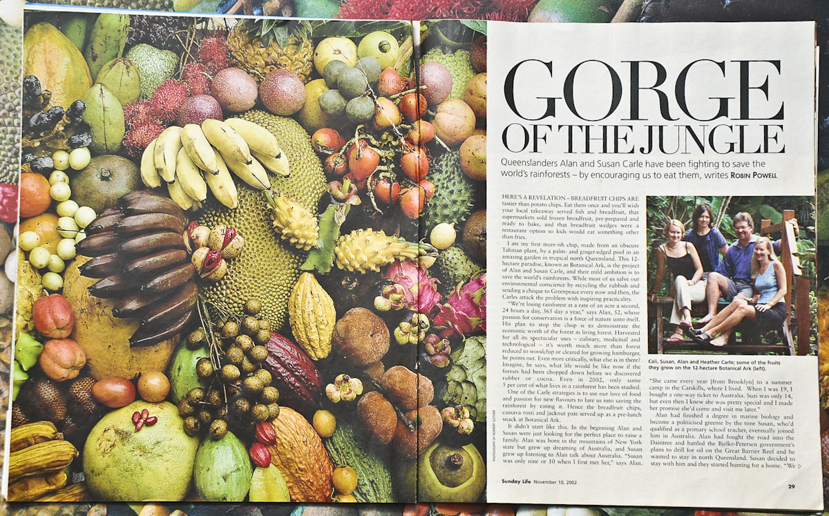 Gorge of the Jungle, a story in Sunday Life magazine, about The Botanical Ark